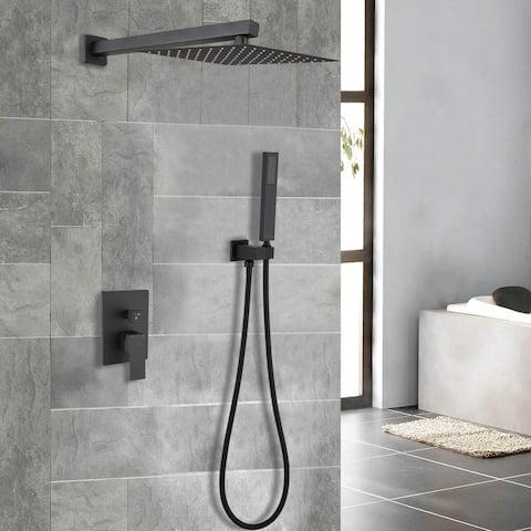 "Proox 12"" Squared Rain Shower Combo Set w/ Hand Shower"