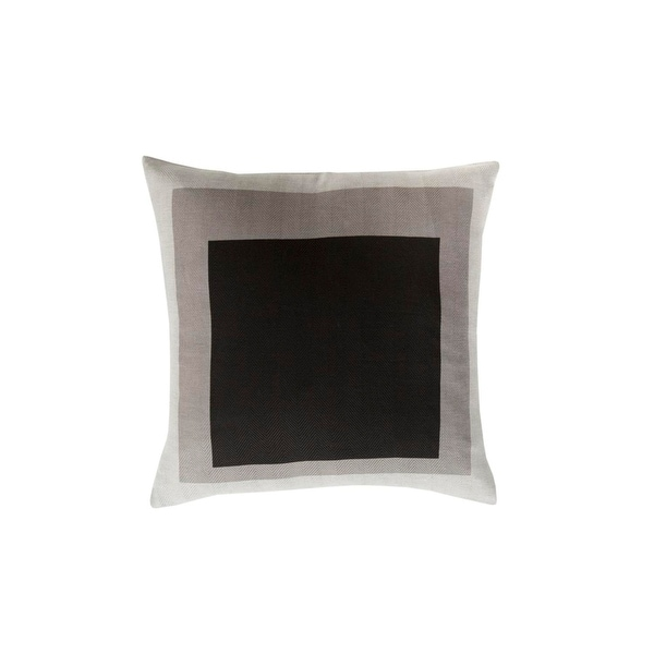 "22"" Black and Gray Modern Color block Designed Square Throw Pillow - Down Filler"