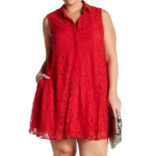 Sharagano Womens Plus Lace Collared Shift Dress