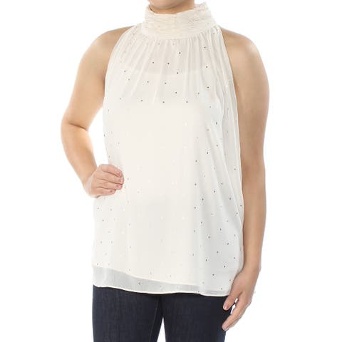 VINCE CAMUTO Womens Ivory Glitter Sleeveless Turtle Neck Top Size S