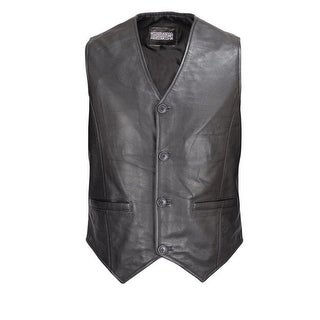 Men Motorcycle Biker Leather Button Front Smooth Lamb Vest Classic Style MBV113