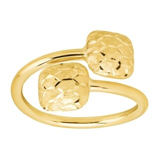 Just Gold Textured Square Bypass Ring in 10K Gold - Yellow