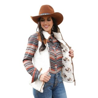 Link to Cruel Girl Western Vest Womens Faux Suede Lined Zip Close - Cream Similar Items in Women's Outerwear
