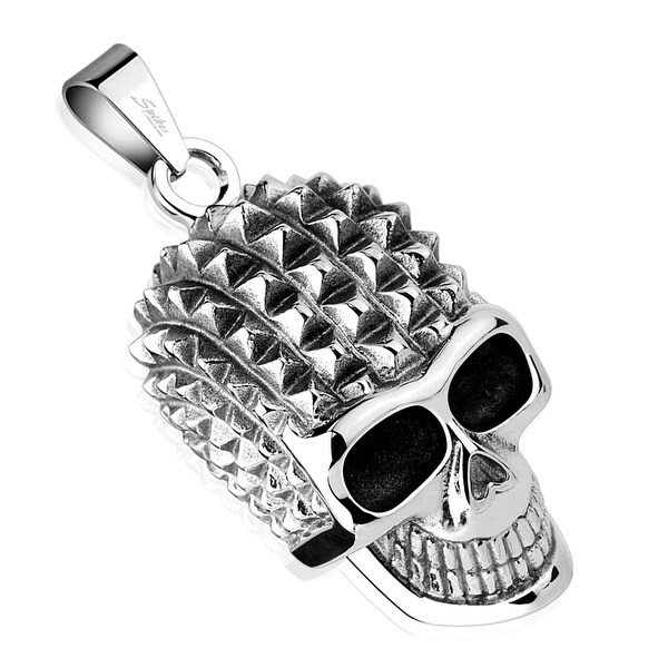 Pyramid Spikes Skull Stainless Steel Pendant (21.9 mm Width)