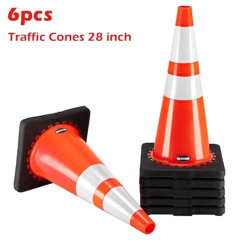 "Oshion 21"" PVC American Road Cone Black Chassis Reflective Cone Warning Cone(6 pcs)"