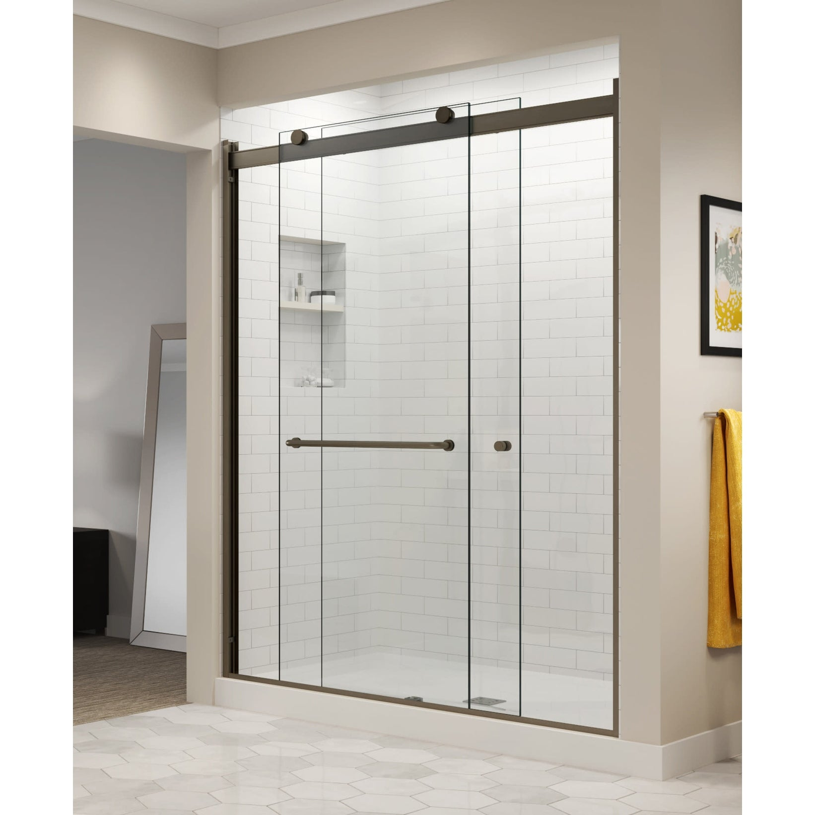 Basco Rtla05b6070xp Rotolo 70 High X 60 Wide Sliding Frameless Shower Door With Autoglidexp Clear Glass