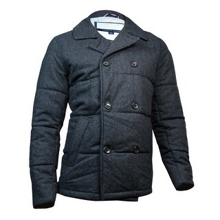 Tommy Hilfiger Men's Wool Quilted Peacoat (M, Charcoal Heather) - M