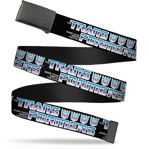 Blank Black Buckle Transformers Logo 4Decepticon Logo Black Blue Web Belt