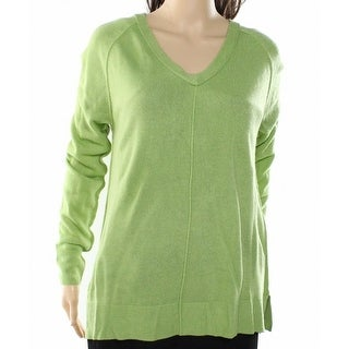 Sweet Romeo NEW Green Women's Size XL Ribbed Knit V-Neck Sweater