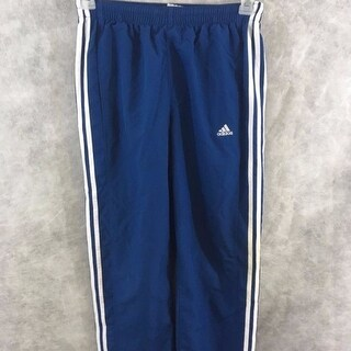 Adidas athletic boys pants Size L blue white polyester