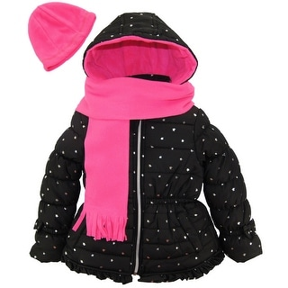 Pink Platinum Toddler Girl Silver Star Bubble Winter Puffer Jacket Scarf and Hat