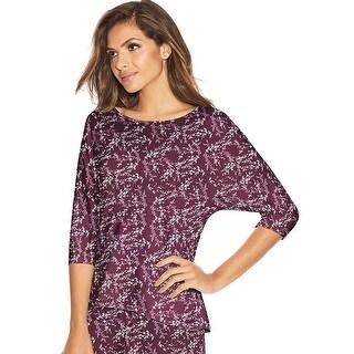 Maidenform Dolman Sleeve Lounge Top - Color - Purple Foil Floral - Size - L