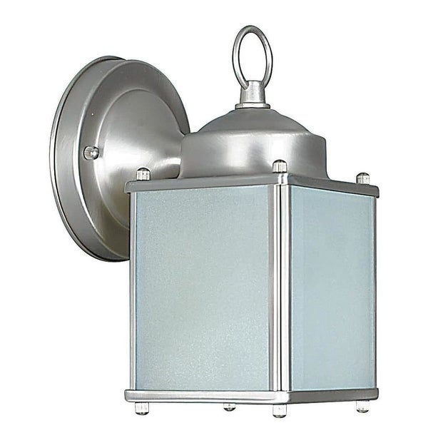 """Sunset Lighting F6841 1-Light 8"""" Height Outdoor Wall Sconce - Satin Nickel - N/A"""