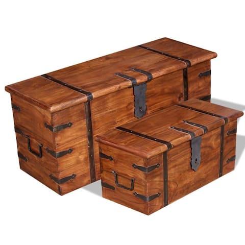 vidaXL 2 Piece Storage Chest Set Solid Wood