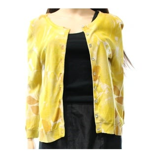 Tracy Reese NEW Yellow Women's Size Medium M Printed Cardigan Sweater