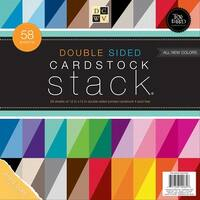 """Dcwv Cardstock Stack Double-Sided 12""""X12"""" 58/Pkg-Textured, White Core, 20 Color/2-3 Each"""