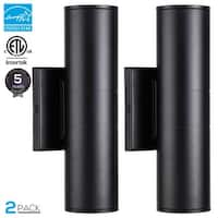 20W LED Wall Mount Lamp, 120W Equiv. Cylinder UP Down Light, Pack of 2