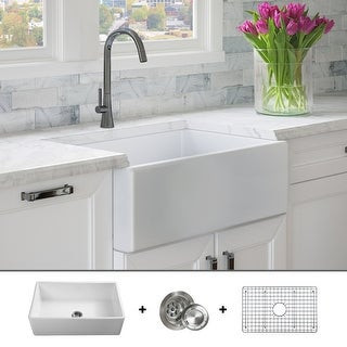 Luxury 30 inch Modern Fireclay Farmhouse Kitchen Sink, Single Bowl, White, Flat Front, includes Drain & Grid, by Fossil Blu