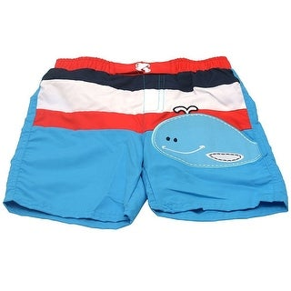 Sol Swim Little Boys Blue White Red Stripe Whale Applique Swimwear Trunks 2T