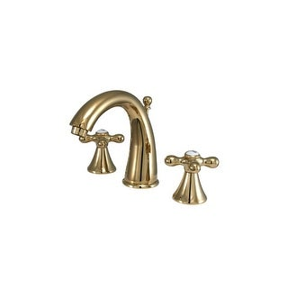 "Elements Of Design ES2972AX Double Handle 8"" to 16"" Widespread Bathroom Faucet with American Cross Handles and Brass Drain"