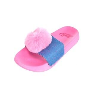 Girls Slip On Sandals - Jojo Siwa, Denim Pom Youth Sizes 1-2-3-4-5-13