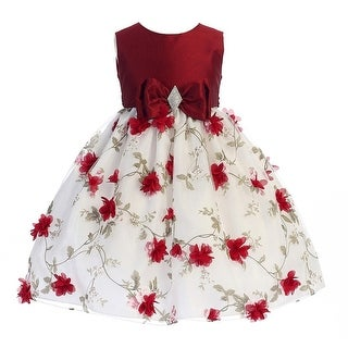 Crayon Kids Little Girls Red White Flower Brooch Bow Christmas Dress