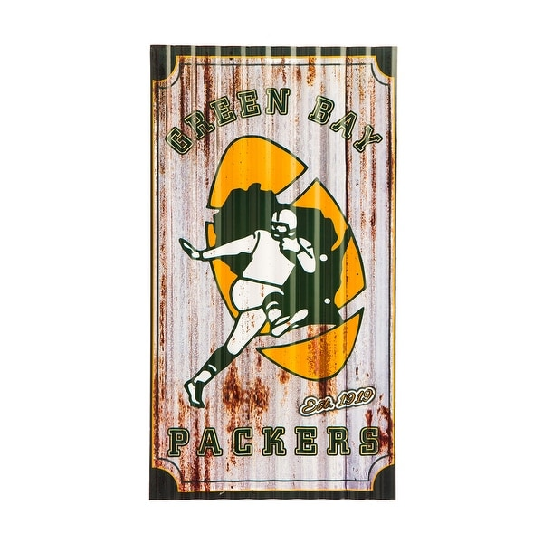 "Green Bay Packers 21.5"" x 12"" Corrugated Metal Wall Art"
