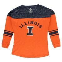 Colosseum Womens University of Illinois Sporadic Long Sleeve T Shirt Orange - Orange/Navy - m