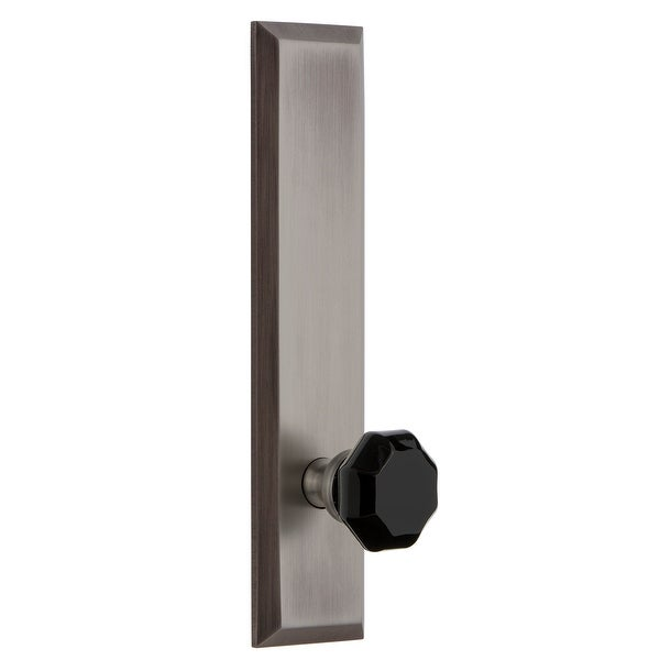 Grandeur FAVLYO_TP_PRV_234_LH Fifth Avenue Solid Brass Tall Plate Left Handed Privacy Door Knob Set with Lyon Black Crystal