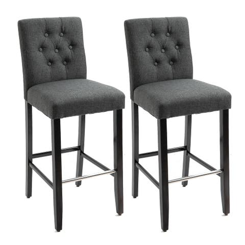 HOMCOM 2 Piece Classic Counter to Bar Height Barstool with Metal Tube Footrest Solid Wood Leg, Armless Seat, Grey