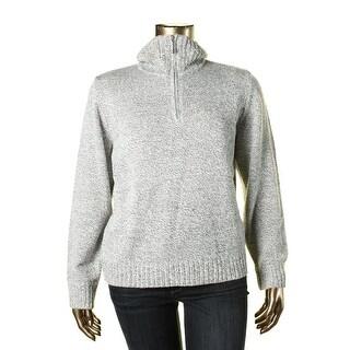 Karen Scott Womens Rib-Trim Zip Pullover Sweater
