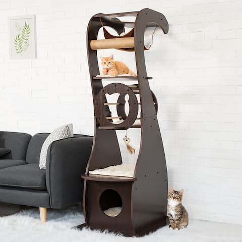 Kinpaw Wood Cat Tree, Multi-Level Kitten Condo Furniture Play House, Modern Cat Tree Tower with Scratching Post, Pads - brown