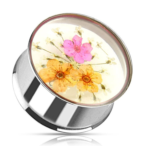 Pink Orange Dried Flower Incased Clear Acrylic Double Flared Surgical Steel Plug (Sold Individually)