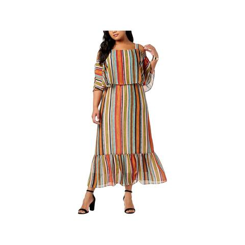 NY Collection Womens Plus Maxi Dress Striped Casual - 1X