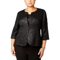 Alex Evenings Womens Plus One-Button Blazer 2PC Sequined