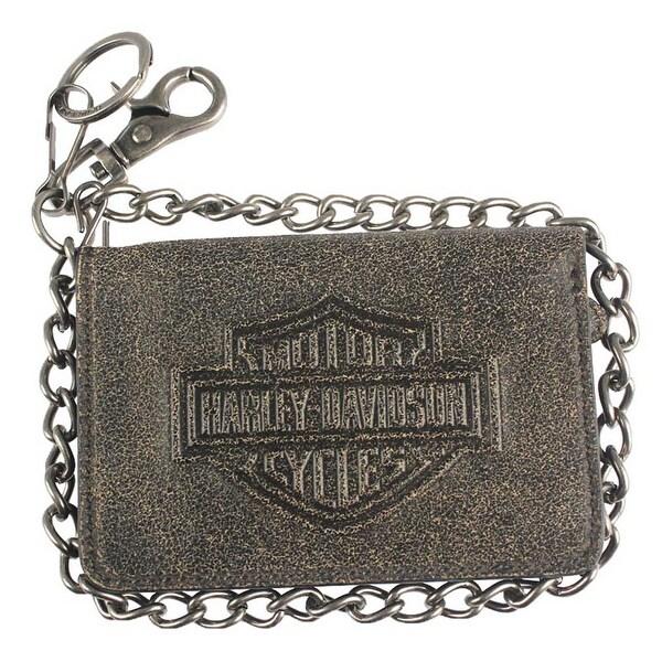 """Harley-Davidson Men's Burnished B&S Leather Biker Bi-Fold Wallet BW4720L-TANBLK - 5.5"""" x 3.75"""""""