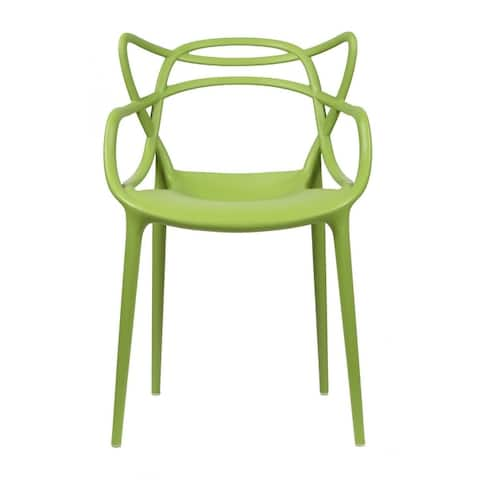 Modern Plastic Patio Indoor or Outdoor Dining Stackable Chair UV Protected With Arms Open Back