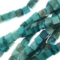 Jasper Gemstone, Cube Beads 4mm, 1 Strand, Blue Turquoise (Dyed)