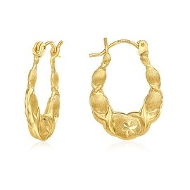 MCS JEWELRY INC 10 KARAT YELLOW GOLD HOOP EARRINGS WITH DESIGN 22MM