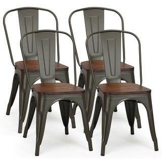 Link to Costway Set of 4 Style Metal Dining Side Chair Wood Seat Stackable - Set of 4 Similar Items in Kitchen & Dining Room Chairs