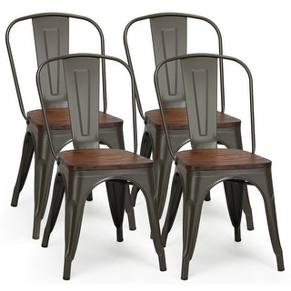 Costway Set of 4 Style Metal Dining Side Chair Wood Seat Stackable Bistro Cafe - Set of 4