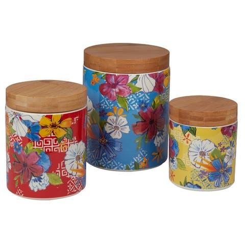 Certified International Flower Power 3-piece Canisters with Bamboo Lids