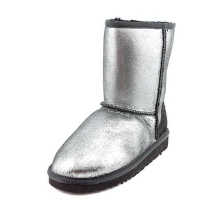 Ugg Australia Kids Classic Glitter Youth Round Toe Suede Silver Winter Boot