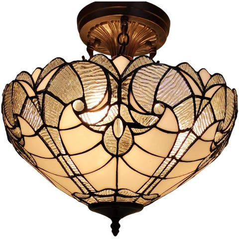 """Tiffany Style Ceiling Lamp Fixture Semi Flush 16"""" Wide White Stained Glass 2 Dining Room Gift AM216HL16B Amora Lighting"""