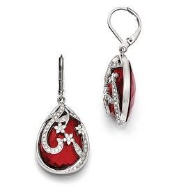 Chisel Stainless Steel Polished Red Glass and Crystal Lever back Earrings