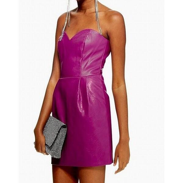 328dc54f9c1 Shop TopShop Purple Womens Size 10 Strapless Faux Leather Sheath ...