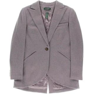Lauren Ralph Lauren Womens Petites One-Button Blazer Wool Heathered