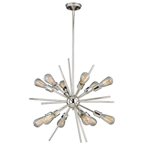Estelle 12 Light Mid-Century Modern Sputnik Pendant - 27.5-in W x 30.5-in H x 27.5-in D