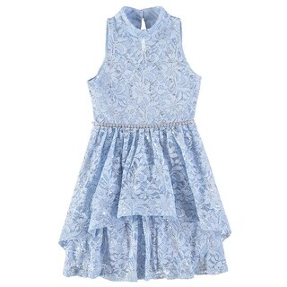 Speechless Girls 7-16 Sequin Lace Tier Dress - Blue