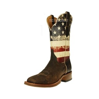 Cinch Western Boots Mens National Flag Square Toe Cowboy Brown